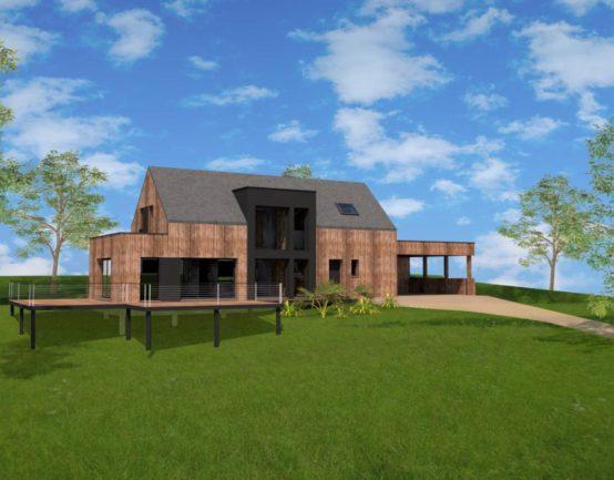 Construction maison ossature bois bourg des comptes 35